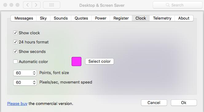 Digital clock screensaver for Mac. Apple screensaver.