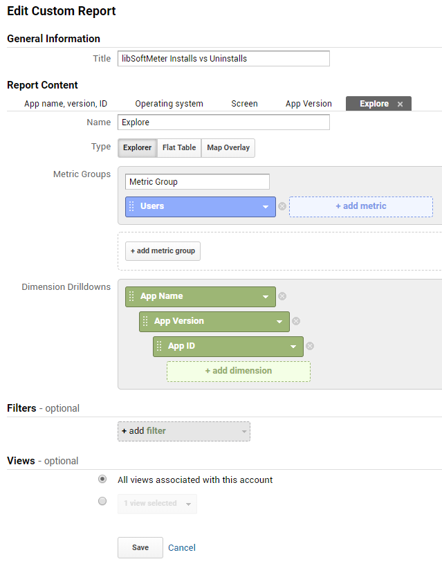 Google analytics custom report for software Installs and Uninstalls monitoring