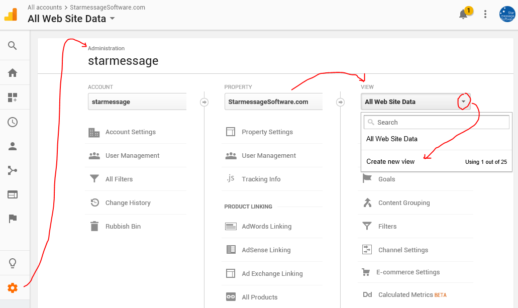 Create new Mobile App reporting view in Google Analytics