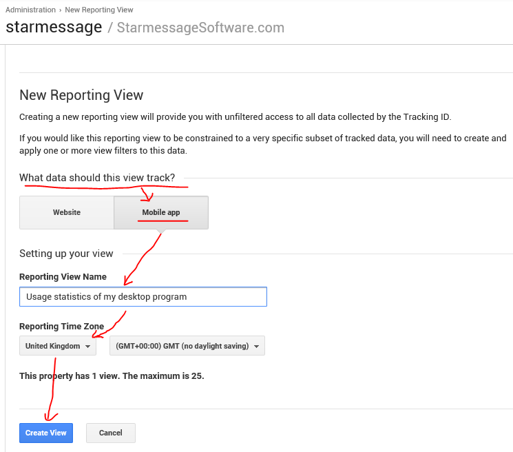 Save the new Mobile App reporting view in Google Analytics