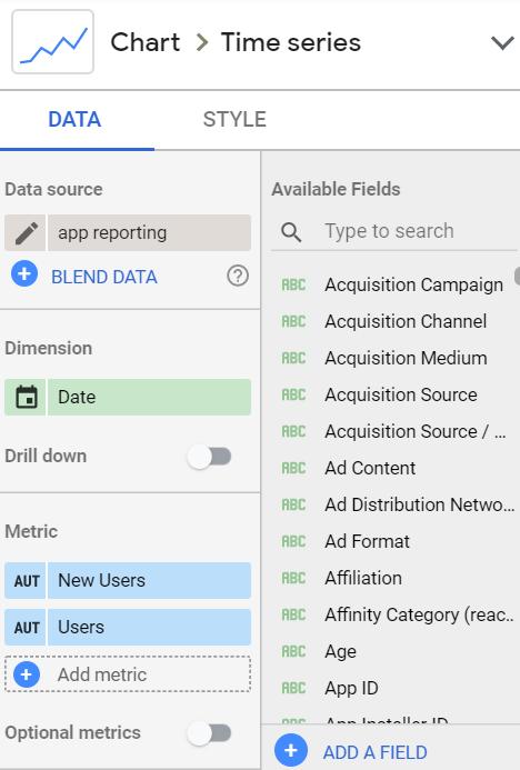 Google Data Studio - how to set field properties