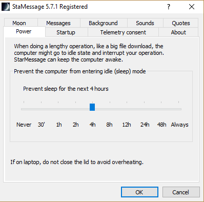 Windows power options to keep computer awake / prevent power saving mode