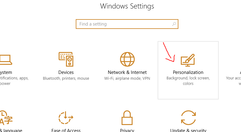 Windows 10 PC settings screenshot
