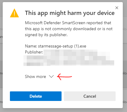 Microsoft defender warning this app might harm your device