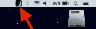 Moon icon on the MacOS menu bar