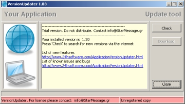 Screenshot of the versionupdater utility for software distribution